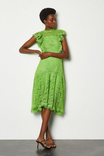 Green Chemical Lace Ruffle Sleeveless Dress