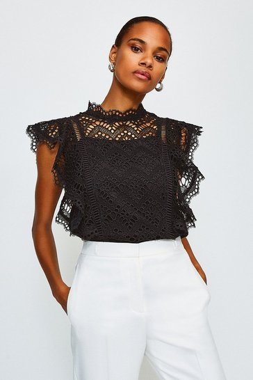 Black Chemical Lace Ruffle Top