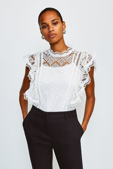 White Chemical Lace Ruffle Top