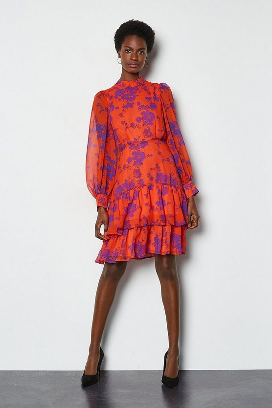 Orange Tiered Long Sleeve Printed Short Dress
