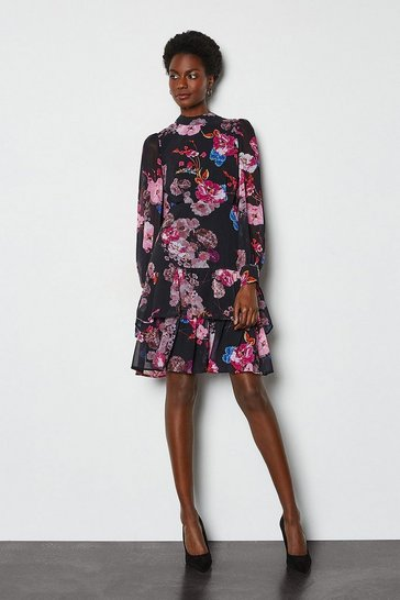 Black Tiered Long Sleeve Printed Floral Dress
