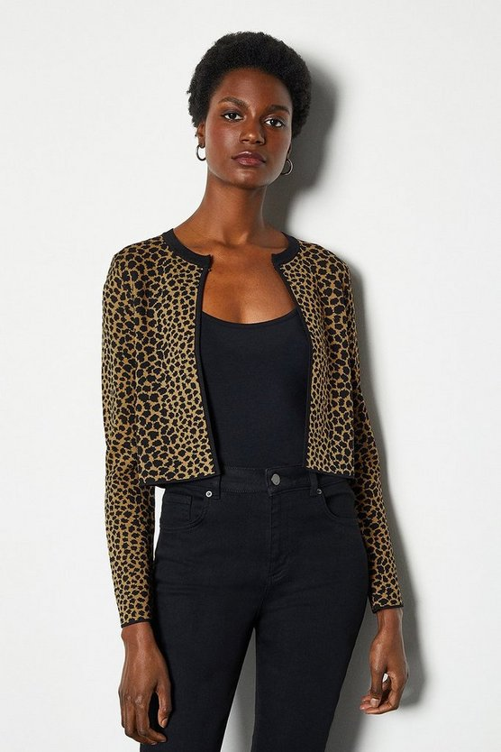 Black Animal Print Cropped Cardigan