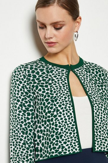 Green Animal Print Cropped Cardigan