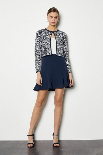 Navy Animal Print Cropped Cardigan