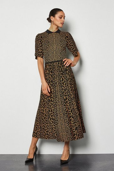 Black Collared Leopard Midi Knit Dress