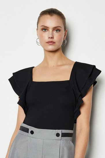 Black Square Neck Frill Sleeve T-Shirt