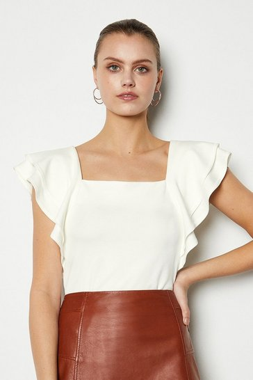 Ivory Square Neck Frill Sleeve T-Shirt
