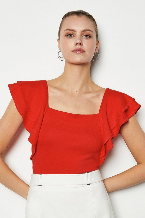 Red Square Neck Frill Sleeve T-Shirt
