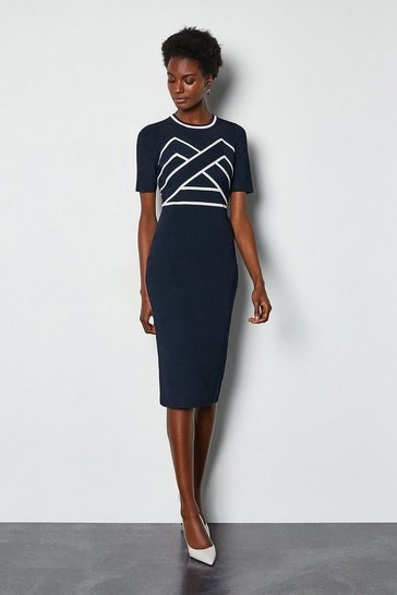 Navy Bold Contrast Stripe Bandage Dress
