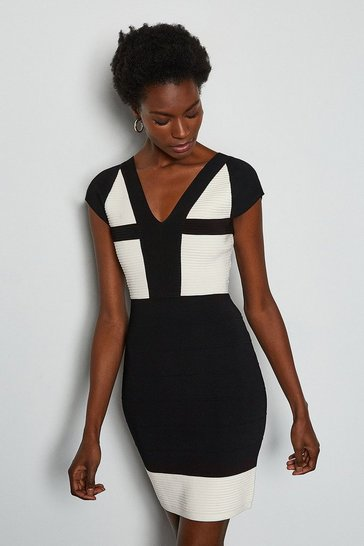 Blackwhite Cut Out Panel Bandage Knit Dress