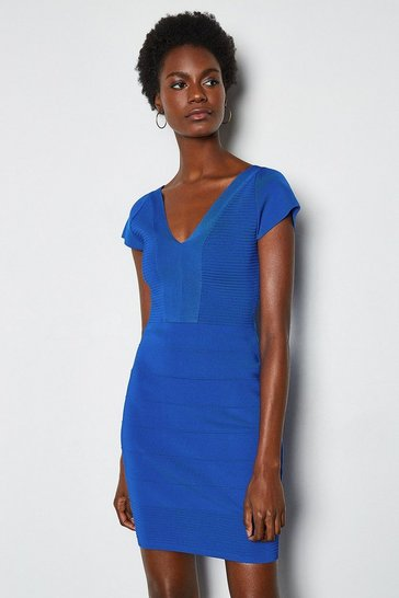 Blue Cut Out Panel Bandage Knit Dress