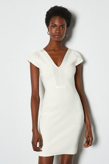 White Cut Out Panel Bandage Knit Dress