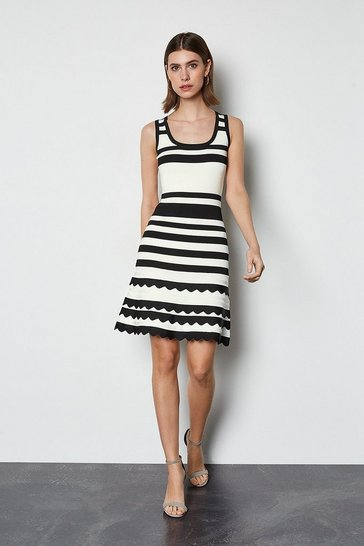 Blackwhite Striped Knit Scallop Trim Dress