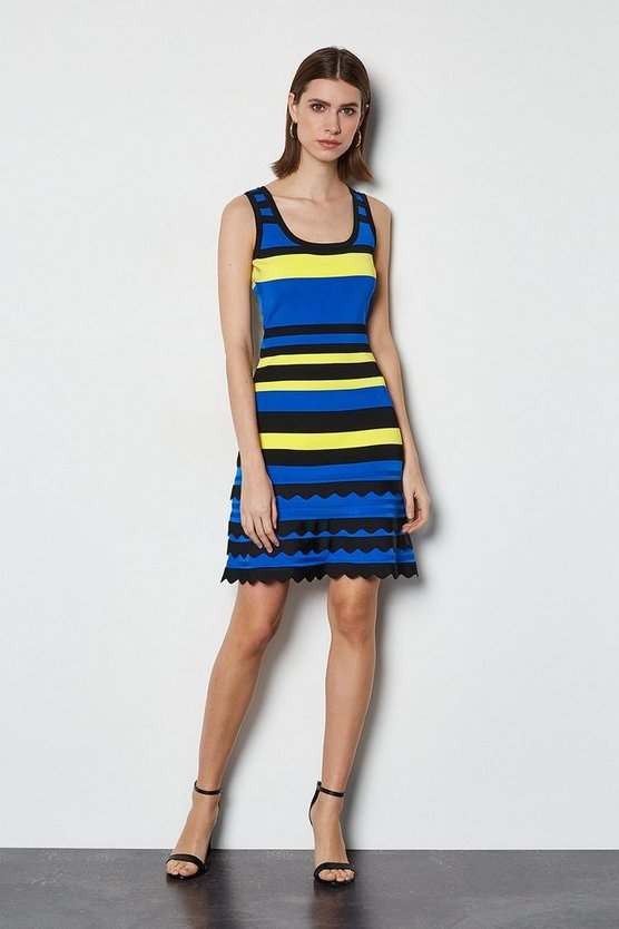 Blue Striped Knit Scallop Trim Dress