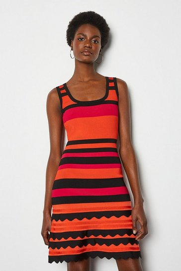 Red Striped Knit Scallop Trim Dress