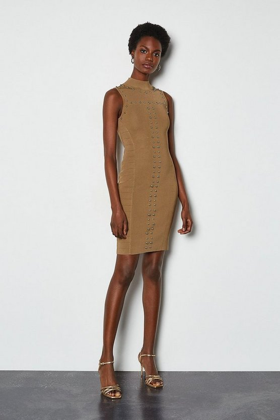 Camel Stud Panel Military Bandage Knit Dress