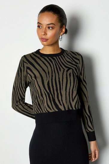 Multi Zebra Jacquard Cropped Knit Jumper