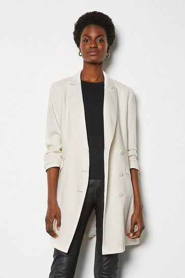 Ivory Double-Breasted Tuxedo Jacket