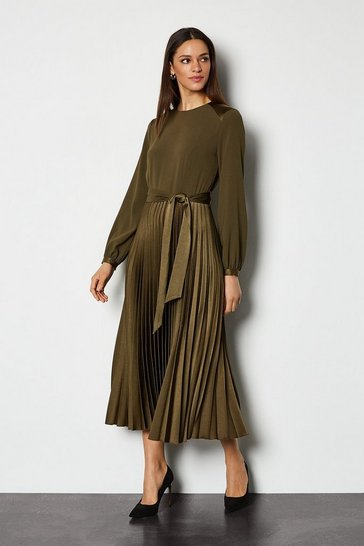 Khaki Satin Military Pleated Dress
