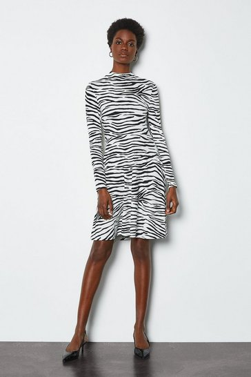 Blackwhite Zebra Print Jersey Flared Dress