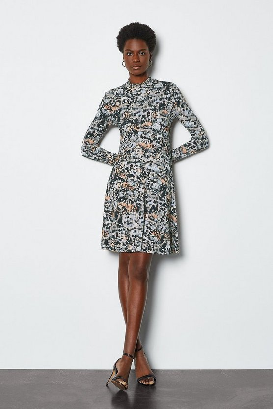 Multi Smudge Spot Print Jersey Flared Dress