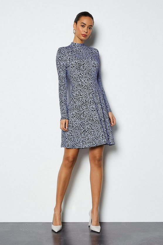 Blue Leopard Print Jersey Flared Dress