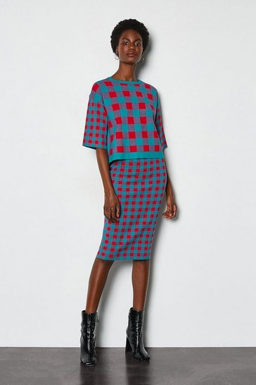 Red Colour Pop Check Knit Skirt