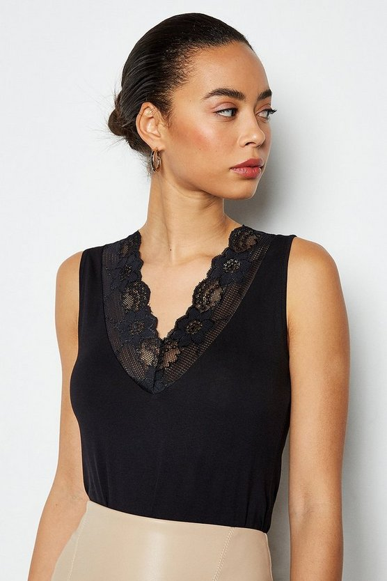 Black Essential Lace Trim Vest