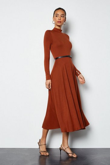 Brown Funnel Neck Jersey Maxi Dress