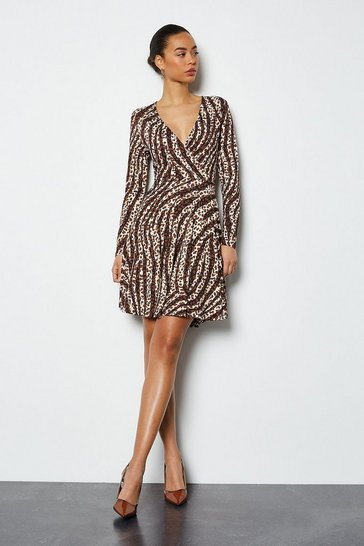 Dotty Zebra Wrap Front Jersey Dress