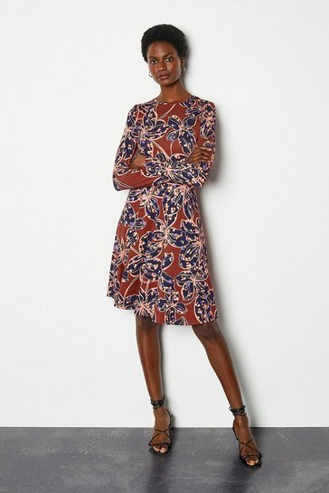 Floral Print Long Sleeve Funnel Neck Midi Dress