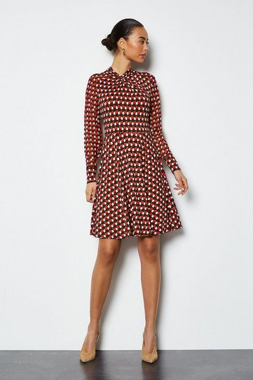 Multi Geo Twist Neck Mix Fabric Jersey Dress