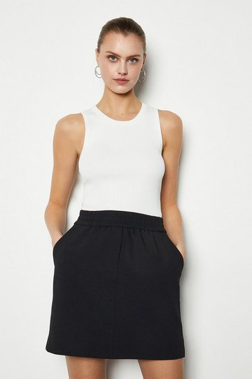 Black Tailored Track Mini Skirt