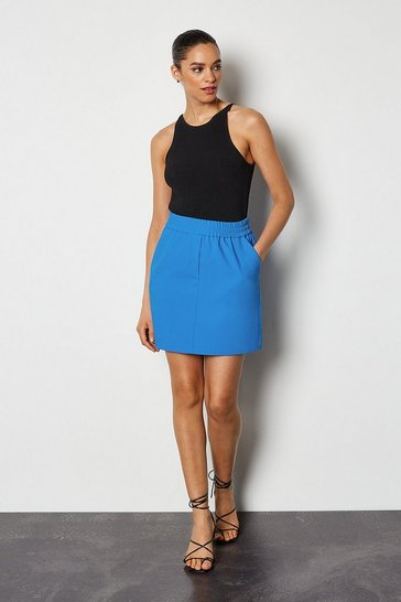 Cobalt Tailored Track Mini Skirt