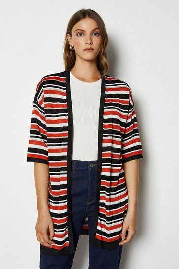 Black Stitchy Stripe Knit Cardi