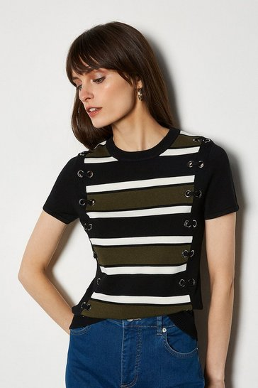 Black Lace Up Detail Stripe Knit Jumper