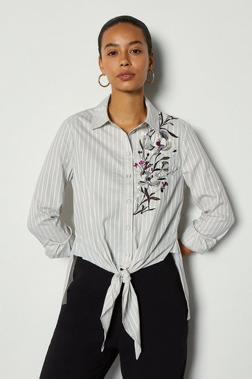 Grey Lotus Tie Front Shirt