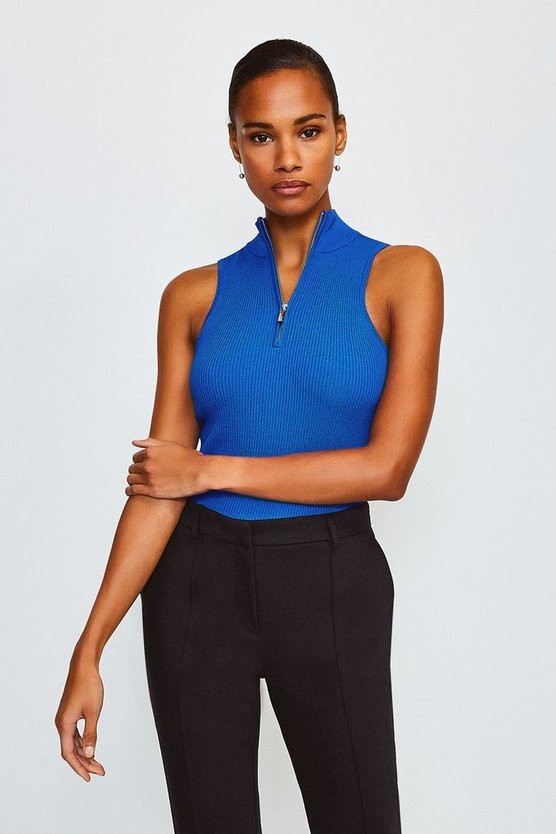 Cobalt Racer Rib Turtle Neck Zip Top