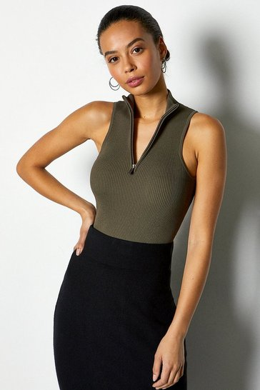 Khaki Racer Rib Turtle Neck Zip Top