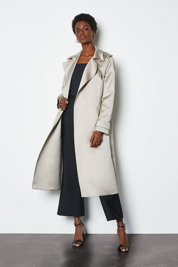 Stone Satin Clean Trench Coat