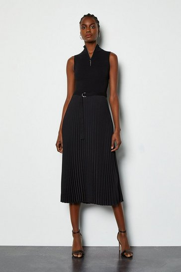 Black Zip Turtle Neck Pleated Skirt Dress