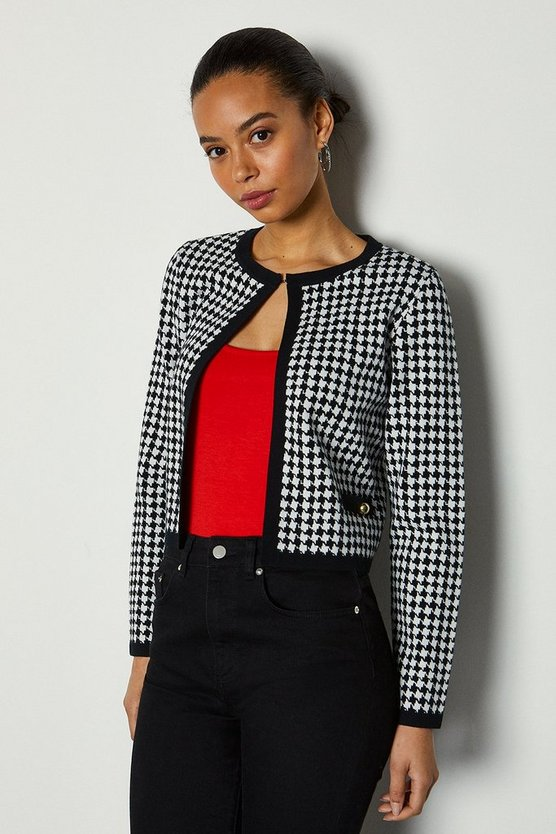 Blackwhite Houndstooth Crop Cardigan