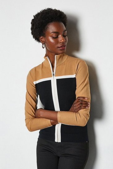 Camel Colourblock Sporty Cardigan