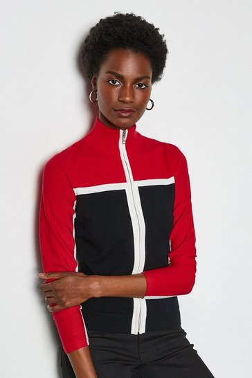 Red Colourblock Sporty Cardigan