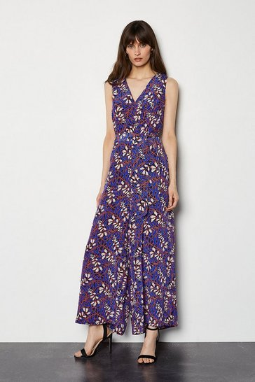 Blue Foxglove Floral On SIlk Jumpsuit