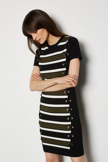 Black Lace Up Detail Stripe Knit Dress