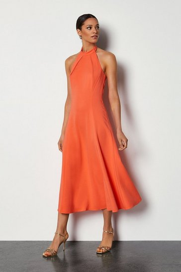 Coral Body Skimming Halter Dress