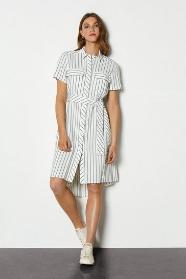 White Soft Stripe Dress