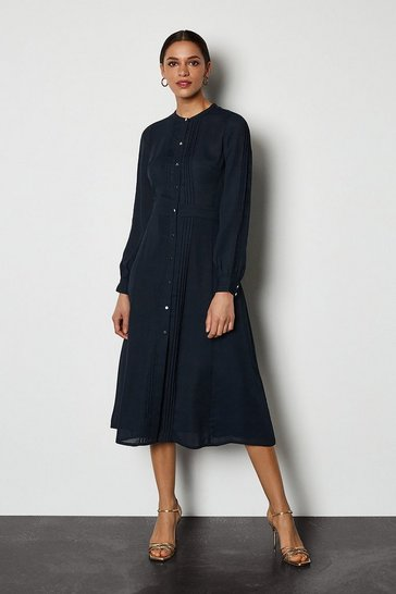 Navy Pin Tuck & Broiderie Midi Shirt Dress