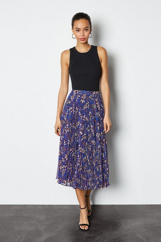Blue Foxglove Floral Print On Pleat Skirt